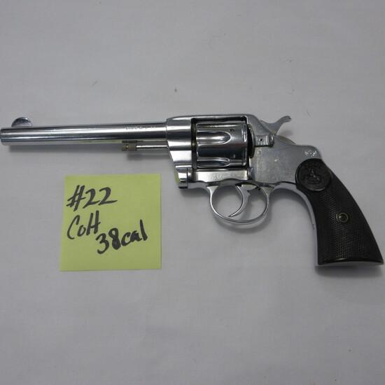 Colt DA .38 revolver, chrome 6 shot revolver