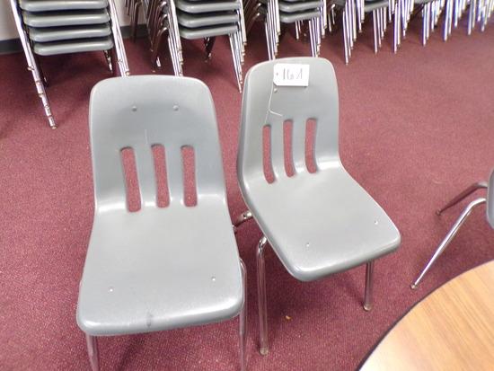 (9)  Gray plastic school desk chairs