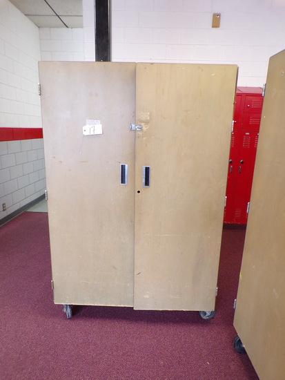 Double door wood rolling cabinet, 4ft.x6ft.