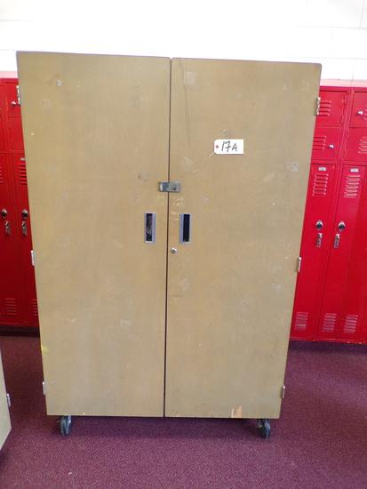 Double door wood rolling cabinet, 4ft.x6ft