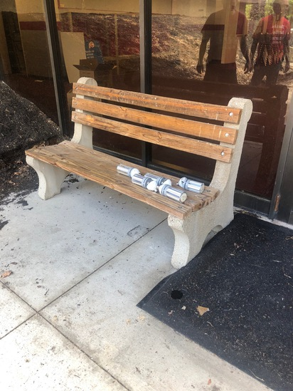 Cement and wood plank outdoor bench