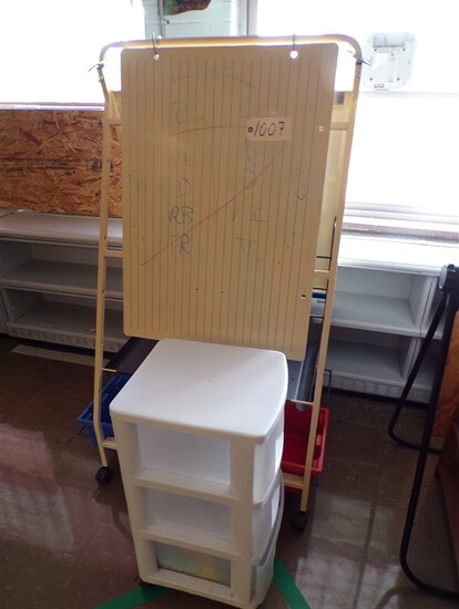 Dry erase easel w/ plastic rolling cabinet (rm1)