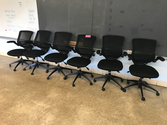 (6) Black ergonomic rolling desk chairs (Rm 306)