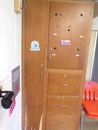 7ft x 3ft Wood storage cabinet (Rm 304)