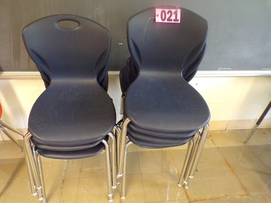 (8) Blue fan back student chairs (Rm 304)