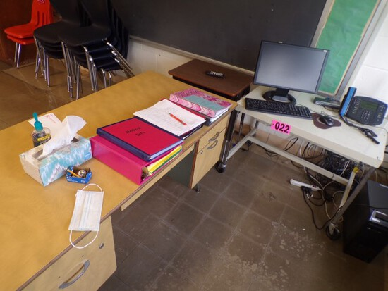 Small student desk, metal rolling media cart, & teachers desk (Rm 304)