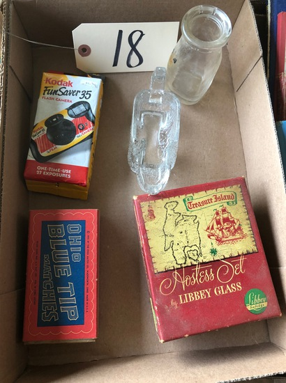 Glassware, 35mm disposable camera, vintage box of matches