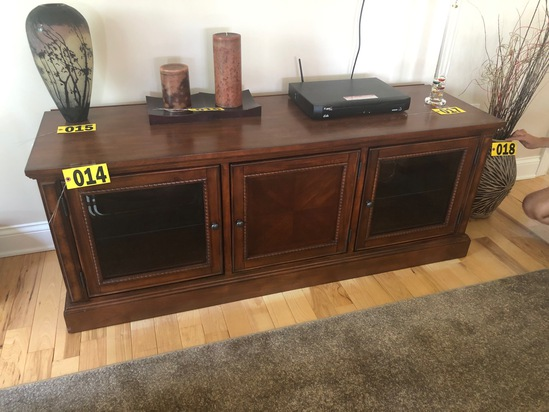 Cherry finished entertainment center w/ glass front doors  - NO SHIPPING NO