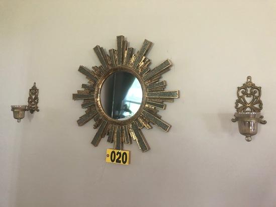 (2) Bronze wall sconces & starburst mirror - NO SHIPPING NO SHIPPING