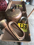 Copper kettle, trumpet, thermometer, & scoop  NO SHIPPING