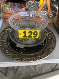 Lg. decorative plate, glassware, bowl & platter  NO SHIPPING