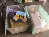 (2) Plastic tubs of stuffed animals, slippers  NO SHIPPING