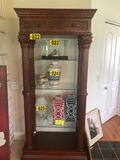 Cherry finished ornate display shelving with glass shelves  - NO SHIPPING N