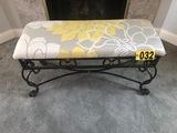 Wrought iron padded bench  - NO SHIPPING NO SHIPPING