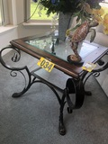 Glass top & wood wrought iron base side table  - NO SHIPPING NO SHIPPING