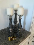 Set of (3) pewter candle sticks  - NO SHIPPING NO SHIPPING