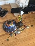 Art glass dragon fly lamp and metal fish art   - NO SHIPPING NO SHIPPING