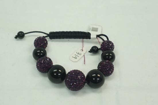 Purple/Black Crystal Ball Bracelet