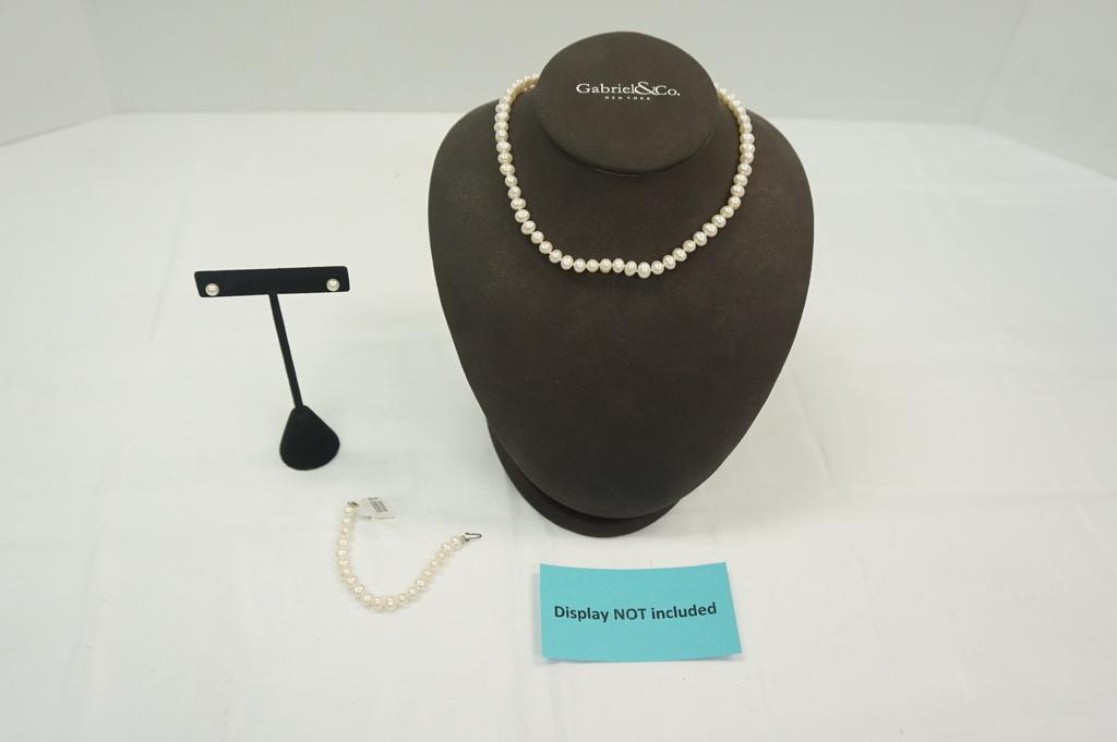 Set-Bracelet, Necklace, Earrings (5-6mm) w/14kt Clasp
