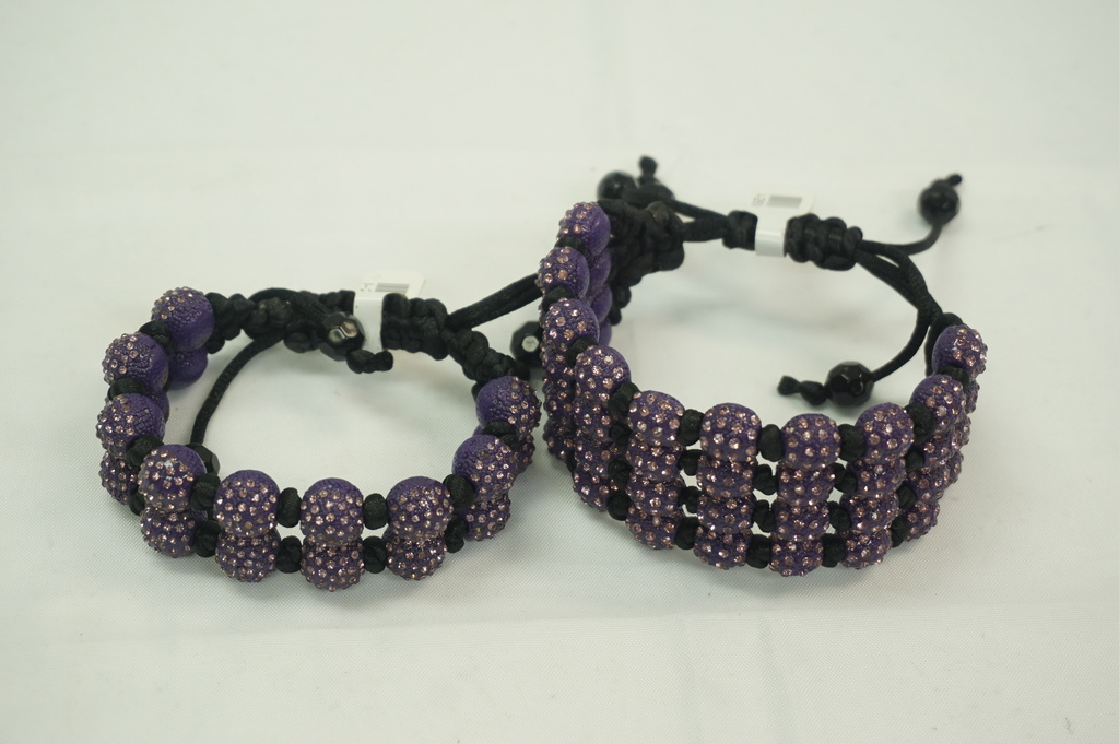 4 Roll and 2 Roll Purple Crystal Ball Bracelets