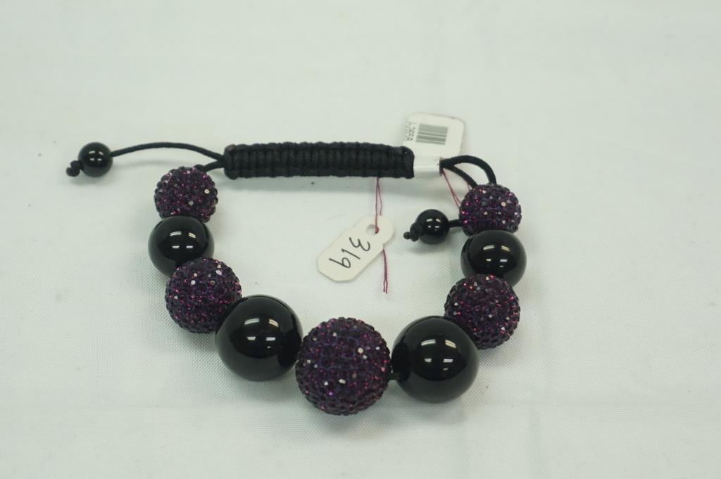 Purple/Black Crystal Ball Bracelet