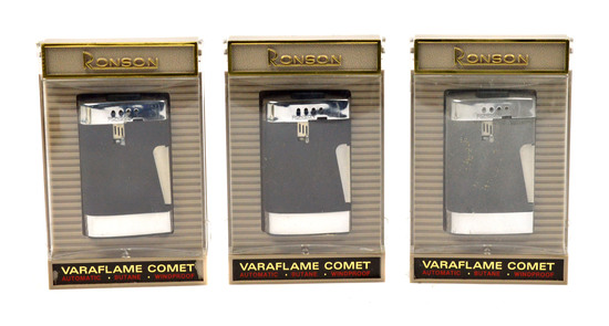 LOT/3 RONSON VINTAGE VARAFLAME COMET LIGHTERS- CHROME PLATE W/ BLACK SATIN FINISH