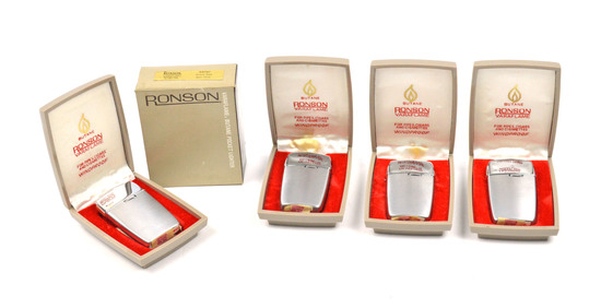 LOT/4 RONSON VINTAGE VARAFLAME SLIMLINE LIGHTERS- CHROME PLATE W/ SATIN FINISH