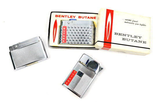 LOT/3 BENTLEY BUTANE VINTAGE FLIP-OPEN LIGHTERS