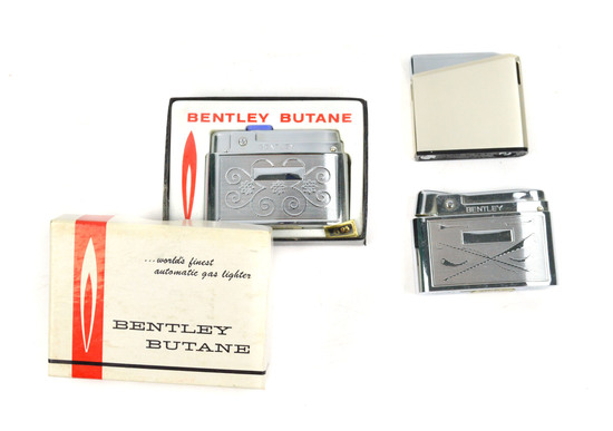 LOT/3 BENTLEY BUTANE VINTAGE FLIP UP LIGHTERS- ENGRAVED DESIGN