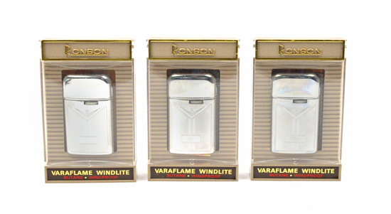LOT/3 VINTAGE RONSON LIGHTERS-VARAFLAME WINDLITE