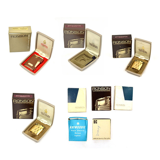 LOT/9 ASSORTMENT OF VINTAGE LIGHTERS AND LIGHTER BOXES