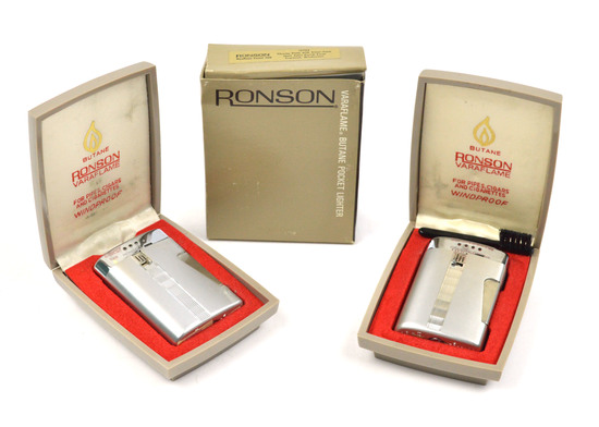 LOT/2 RONSON VINTAGE VARAFLAME 500 CHROME-PLATED LIGHTERS