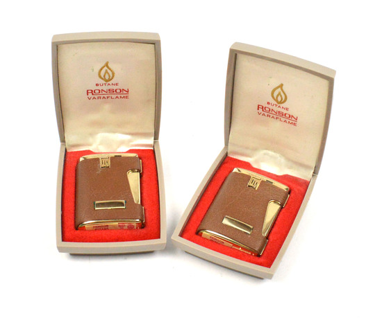 LOT/2 RONSON VINTAGE VARFLAME COMET 500SL LIGHTERS-GOLD PLATED W/ BROWN SHELL