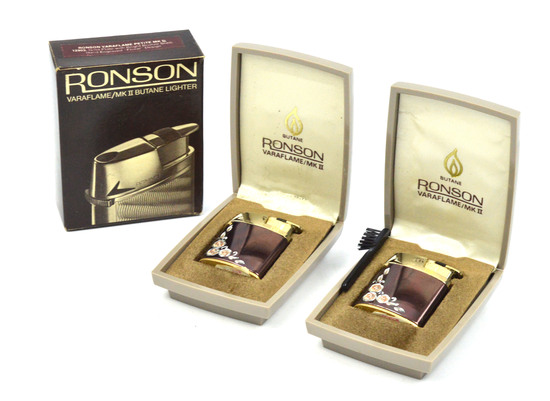 LOT/2 RONSON VINTAGE VARAFLAME LIGHTERS PETITE MKII- GOLD PLATE W/ BRONZE SHELL- HAND ENGRAVED