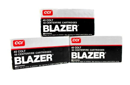 3 BOXES/50 CCI BLAZER .45 COLT AMMO 255 GR. LEAD