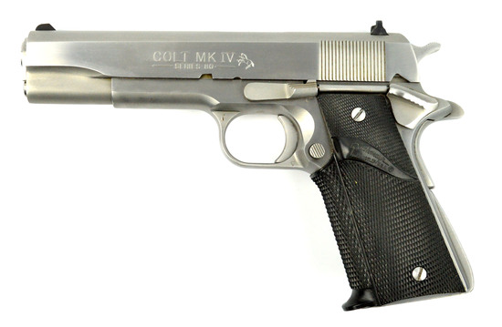 COLT MKIV SERIES 80 GOVERNMENT MODEL .45 AUTO STAINLESS PISTOL w/2 MAGS