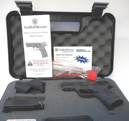 S&W M&P9C 9MM PISTOL BLACK STAINLESS w/CRIMSON TRACE LASER, CASE, MANUAL & 2 MAGS