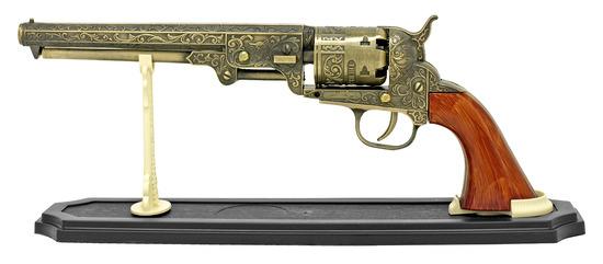 METAL WESTERN SIX SHOOTER PISTOL REPLICA NEW IN BOX - GOLD
