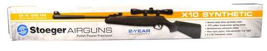 STOEGER X10 PELLET AIR RIFLE .177 w/STOEGER 4X32 SCOPE NEW IN BOX