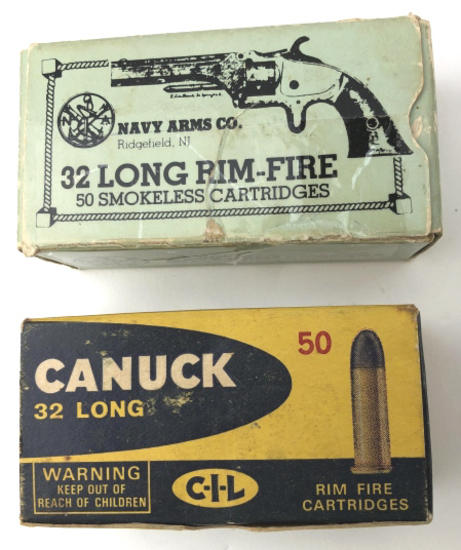 2 BOXES .32 LONG RIM-FIRE AMMO CANUCK & NAVY ARMS