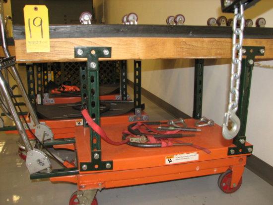 "Central Hydraulic Scissor Table Cart, 1000# Cap, 11"" - 34 1/2"" Hgt, 32"" x 1"