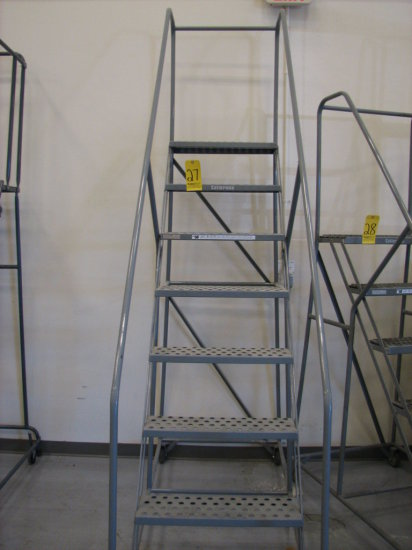 """Cotterman 8 Step Rolling Stairs, 450# Cap, 110"""" Overall Hgt, 80"""" To Top Ste"""