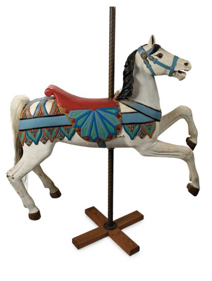 Antique Carved Wooden Carousel Horse Beloved by Shirley Temple $5000+