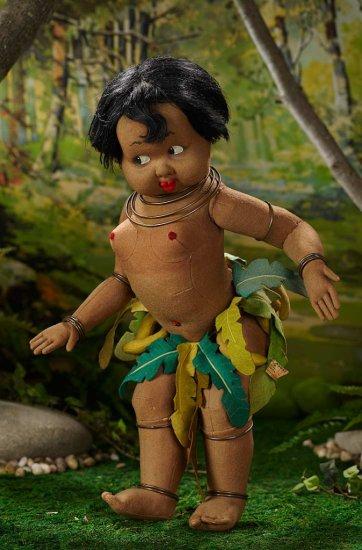Very Rare Italian Felt Character Doll by Lenci Portraying Dancer Josephine Baker 6000/8500