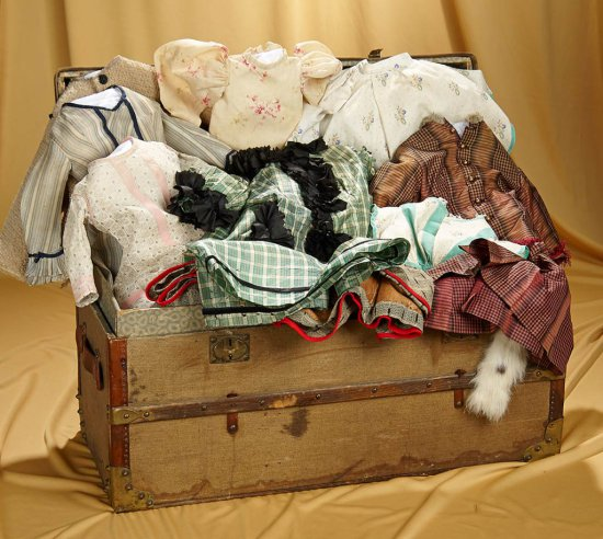 """23"""" x 12"""" x 11"""" 19th Century French doll trunk, grand assortment of antique lady gowns. $600/800"""