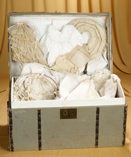French trunk for poupee with collection of early handmade undergarments and hoops. $600/900