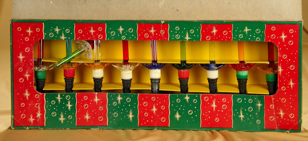 set of nine reliance spark l lites christmas bubble lights in original box - Christmas Lites