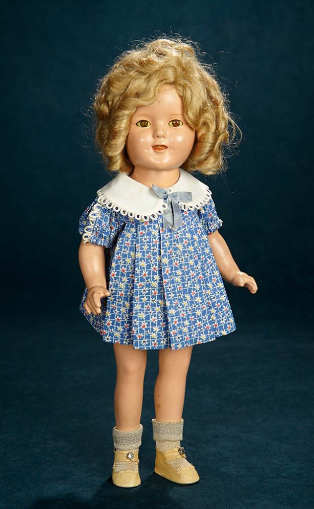 b994e0de9005 Composition Shirley Temple by Ideal in Blue Flowered