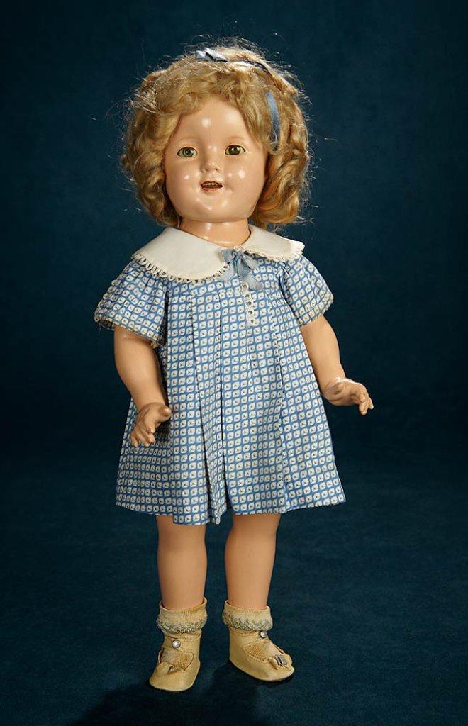 7d5d83e2936b Composition Shirley Temple by Ideal in Blue Cotton Sateen