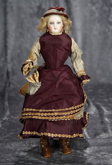 """13"""" French bisque poupee with lovely antique costume, 1870 era. $1200/1700"""